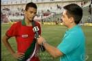 Atacante Stênio Garcia, do Real Noroeste, pede música no Fantástico após os 3 gols da vitória sobre o Atlético do Acre