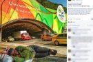 Foto de moradora de rua dormindo perto de cartaz da Olimpíada viraliza na web