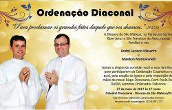 CONVITE PARA A ORDENAÇÃO de André Luciano Masarim e Maickon Montovanelli