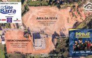 Área de festa sendo preparada para show de Lucas Lucco em Barra de São Francisco; confira os detalhes