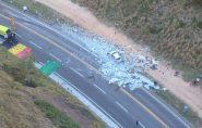 Fotos aéreas mostram local do acidente na BR-101, no ES