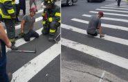 EUA: asfalto 'engole' perna de homem durante travessia de rua