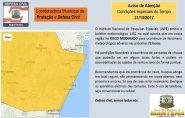 RISCO MODERADO: Defesa Civil de Mantena emite um AVISO de Atenção