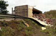 Carreta carregada com mamão tomba na rodovia que liga Colatina a Linhares