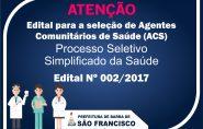 Prefeitura de Barra de São Francisco abre Processo Seletivo para Agentes Comunitários de Saúde; confira o Edital