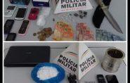 Policiais apreendem casal, dinheiro, celular e drogas em Mantena