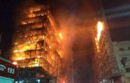 Prédio desaba durante incêndio no centro de São Paulo e deixa um morto