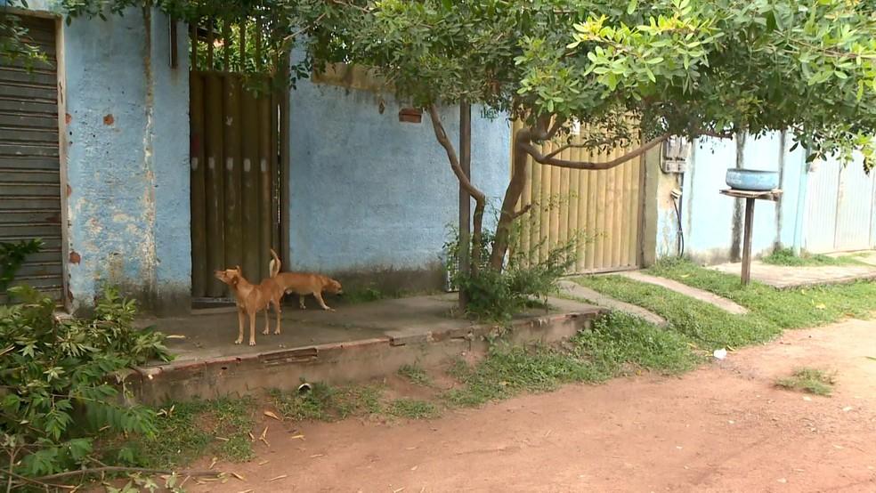Calçada, na rua Guaçuí, do bairro Riviera da Barra, foi local onde ocorreram dois tiroteios em menos de uma semana